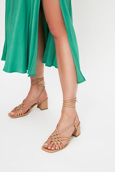 TRENDYOL SHOES Taba Bağlamalı Kadın Klasik Topuklu Ayakkabı TAKSS21TO0078