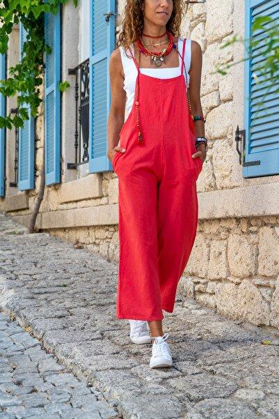 Güneşkızı Kadın Kırmızı Askılı Cepli Keten Tulum GK-GG306