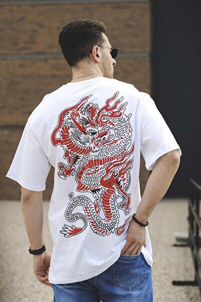 Oksit Cyrus Chinesebox Baskılı Bisiklet Yaka Unisex Oversize Tshirt