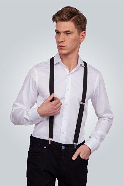 Tudors Düz Siyah Ince Erkek Pantolon Askısı