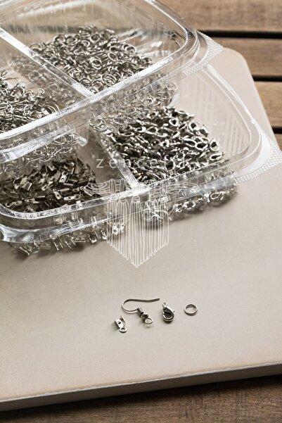 Zencefildesign 400 Parça Takı Yapım Malzeme Seti / Papağan Kapama Küpe Kancası Bağlantı Halkası / Gümüş Renk