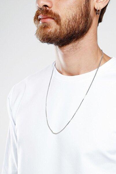 MedBlack Jewelry Unisex Gümüş Renk Küp Zincir Kolye