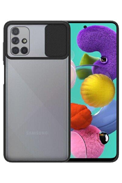 Samsung Galaxy A51 Kılıf Sürgülü Kamera Korumalı Mat Yüzeyli Siyah Arka Kapak S