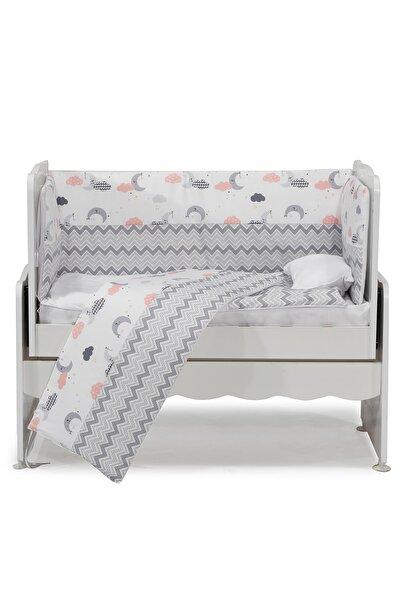 Aktehome Gri Zikzak Desenli Bebek Uyku Seti 7 parça 50x100 Beyaz - Gri