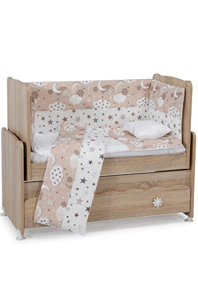 Aktehome Yıldızlı Bulutlu Bebek Uyku Seti 7 parça 50x100 Beyaz - Açık Somon