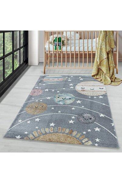 AYYILDIZ Çocuk Bebek Odası Halısı Uzay Dünya Güneş Temalı Gri Tonlarda