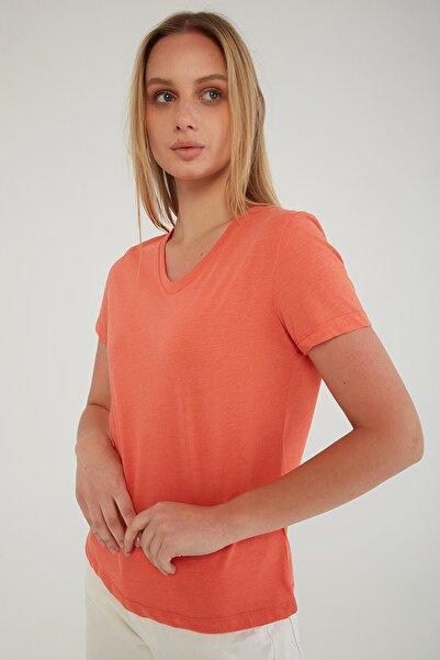 Fashion Friends V Yaka T-shirt Mercan