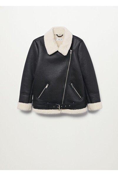 MANGO Woman Kadın Siyah Palto