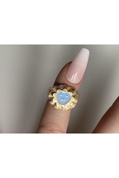 lesseffortless Mavi Smiley Kalpli Katmanlı Gold Yüzük