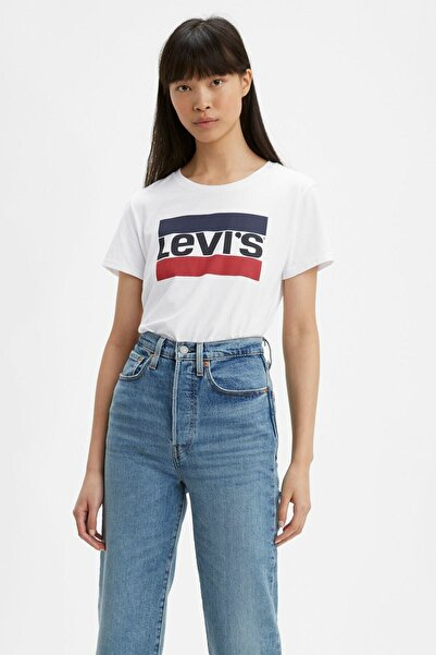 Levi's Baskılı Bisiklet Yaka Pamuk T Shirt Kadın 17369