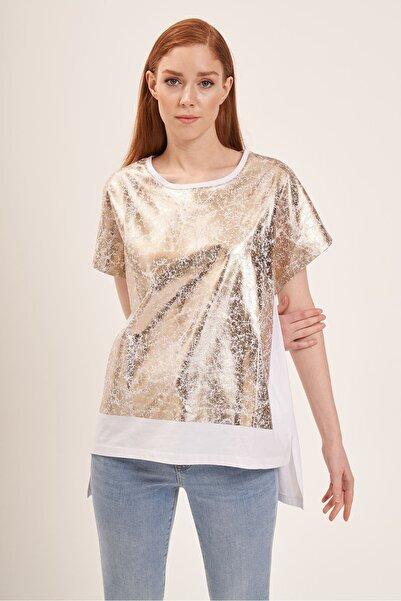 Batik A2125 Varak Baskılı T-shirt Beyaz
