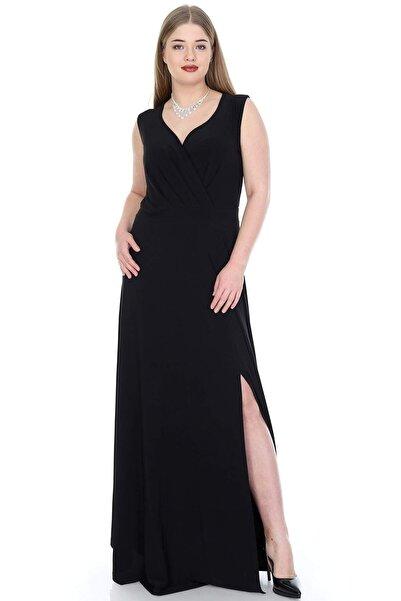 ANGELINO Kadın Siyah Yandan Yırtmaçlı Abiye Elbise KL818