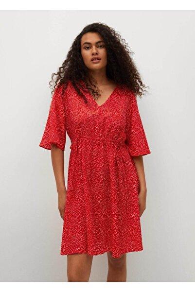 MANGO Woman Kadın Kırmızı Desenli Fırfırlı Elbise