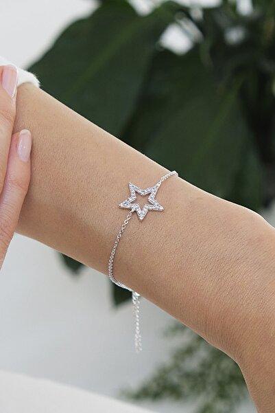 Marjin Kadın Zirkon Taşlı Yıldız Figürlü Gümüş Renkli Bileklikgümüş