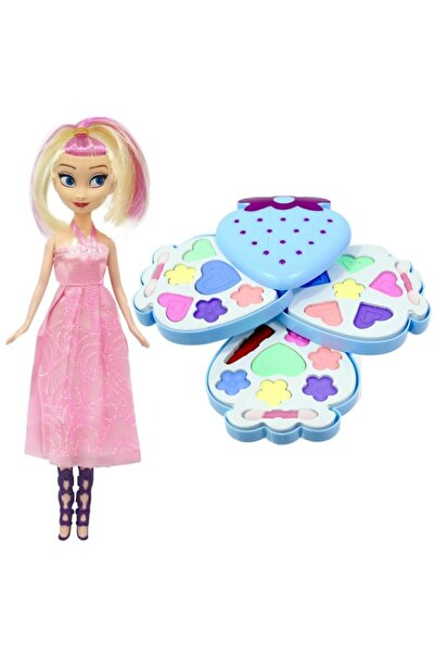 LEADER HOME Çocuk Üç Katlı Makyaj Seti Oyuncak Sürülebilir Prensesli