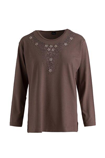 Trikolay Büyük Beden Taşlı Desenli Anne Penye Bluz