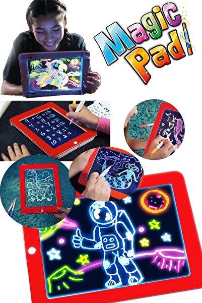 DEMİRHAN İTHALAT Magic Pad Yazı Çizim Tahtası Öğretici Kalemli Pad Resim Şekil Tablet Tipi Işıklı Yazı Tableti Ledli