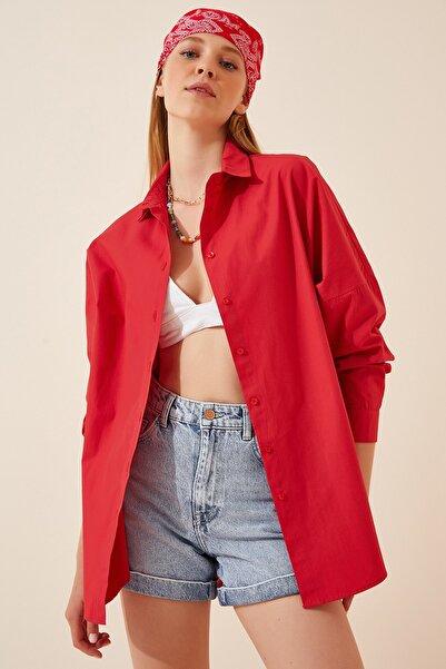 Happiness İst. Kadın Kırmızı Oversize Uzun Basic Gömlek  DD00842