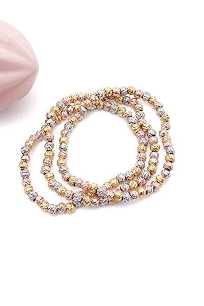 Marjin Kadın Dorika Taşlı Altın&rose&gümüş Renkli Üçlü Bileklikmulti