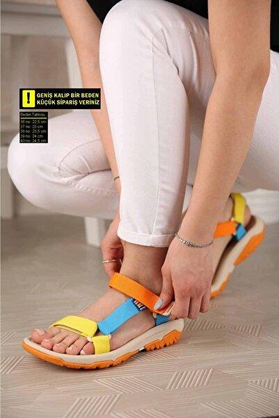 Nstil Kadın Sarı Turuncu Mavi Sandalet