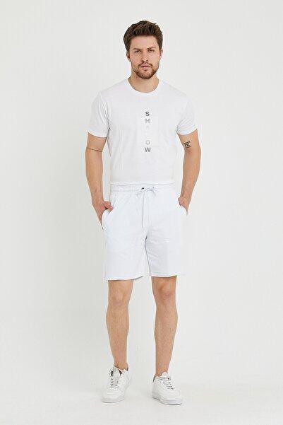 BREEZY Taç Kabaran Baskılı Basıc Şort Beyaz Renk 01222