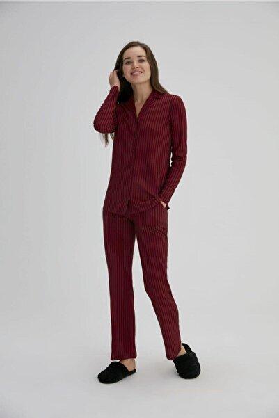 Eros Pijama Eros Esk27690 Kadın Çizgili Gömlek Pij.tk. Pembe 36