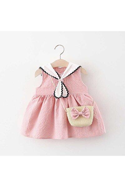 Little Honey Bunnies Fular Yaka Detaylı Pembe Pötikare Elbise Ve Çanta 2'li Set