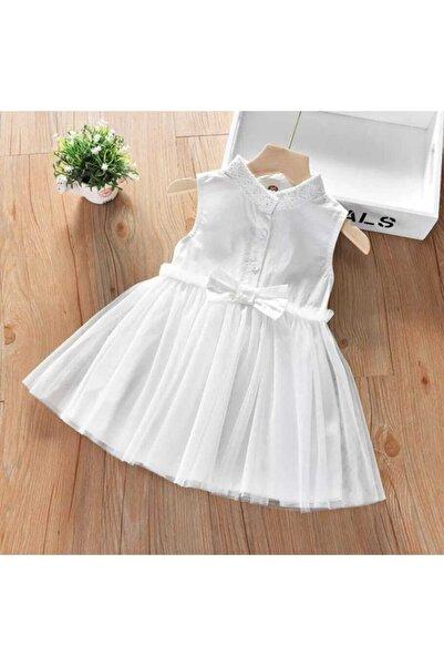 Little Honey Bunnies Fiyonk Detaylı Beyaz Tül Elbise