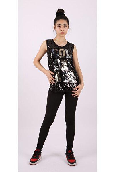 HaticeS Kadın Bisiklet Yaka Kolsuz Ön Komple Pul Payet Nakışlı Siyah T-shirt
