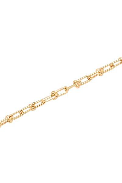 Diamond Line-Gülaylar Kadın Yeşil Altın 14 Ayar Trend Zincir Bileklik