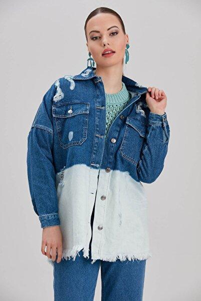 Y-London Kadın Mavi Renk Bloklu Yırtık Detaylı Oversize Kot Ceket YL-CE99926