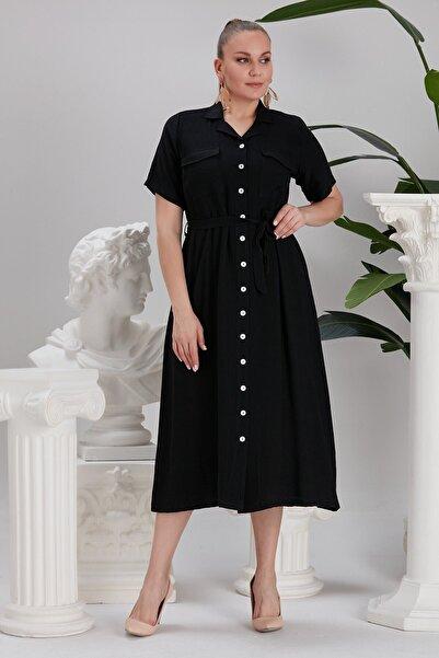 RMG Bel Bağcık Detaylı Düğmeli Büyük Beden Siyah Elbise