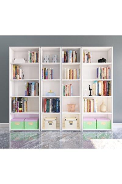 Nur Mobilya 4'lü Arkalıklı Model Kitaplık Beyaz