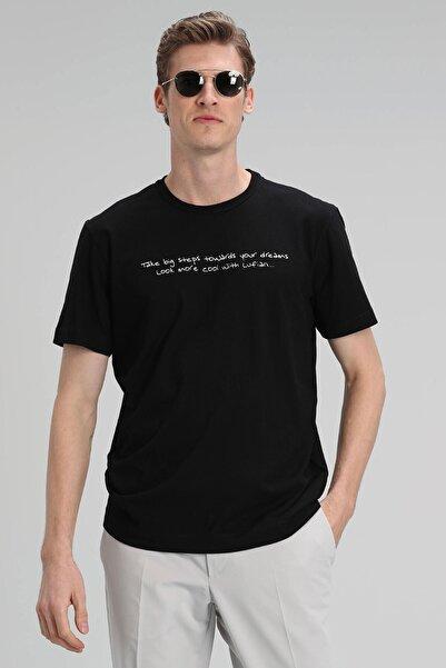 Lufian Ada Modern Grafik T- Shirt Siyah