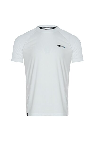 Gymlegend Erkek Beyaz Mikro Polyester Performans Antrenman Sporcu Tişört