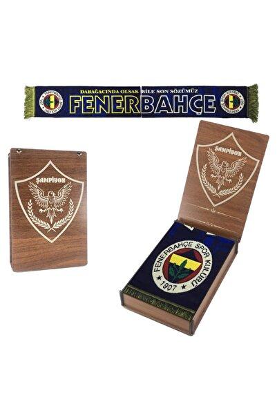 """Fenerbahçe Orijinal Dokuma Atkı Unisex """"dar Ağacında Olsak Bile"""" Ahşap Kutulu"""