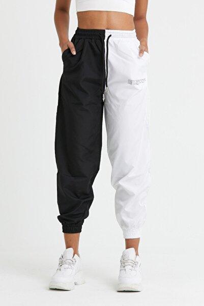 modaado Beyaz Çift Renk Bağcıklı Kadın Eşofman Altı