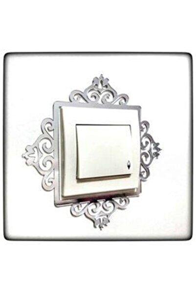 formpleks Dekoratif Priz Kenarı Süsü Gümüş Renk Tekli
