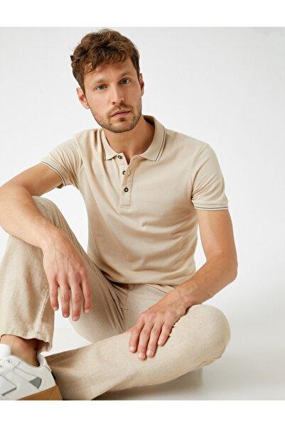 Koton Erkek Bej Polo Yaka T-Shirt Kisa Kollu Pamuklu