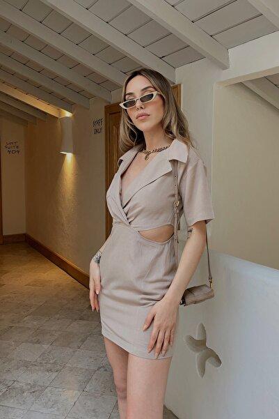 Eyyo Bej Yanları Pencere Detay Elbise As39