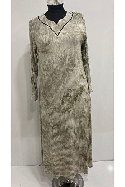 AS PANÇO Kadın V Yaka Büyük Beden Krem Anne Elbisesi