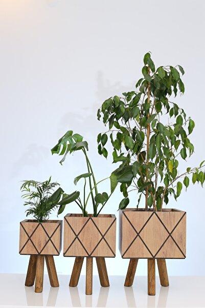 Hakan Mobilya Çam Rengi Ahşap Ayaklı Çapraz Kare Model Saksı Seti Dekoratif Çiçeklik Balkon Bahçe Ahşap Saksılık