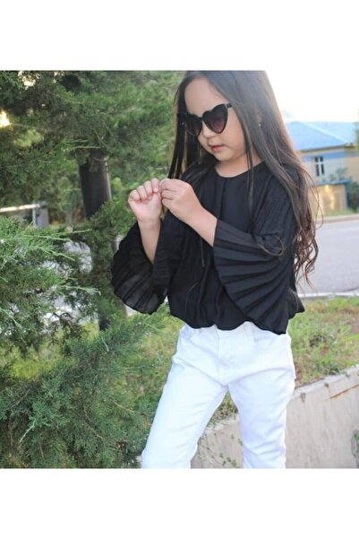 nk kids Siyah Kız Çocuk Yelpaze Kollu Bluz