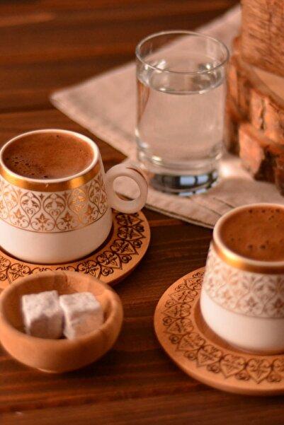 Bambum Ottoman - 2 Kişilik Kahve Takımı Desen Altlıklı B0240