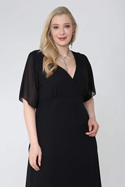 ANGELINO Kadın Siyah Şifon Altı Pileli Kruvaze Yaka Elbise
