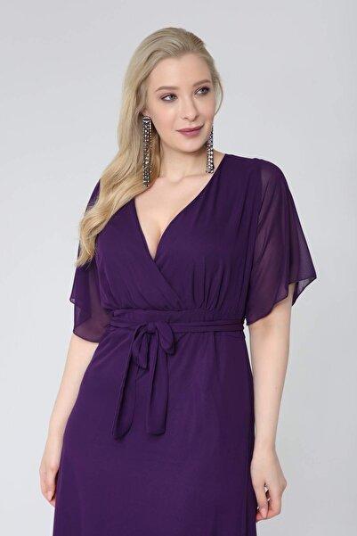 ANGELINO Kadın Mor Şifon Altı Pileli Kruvaze Yaka Elbise Kl7713