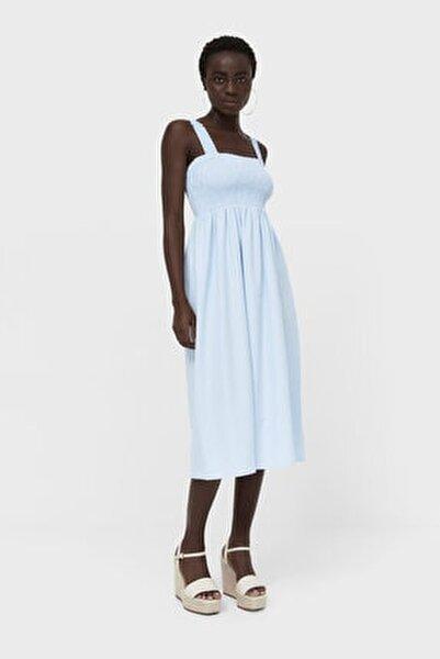 Kadın Açık Mavi Lastikli Midi Elbise