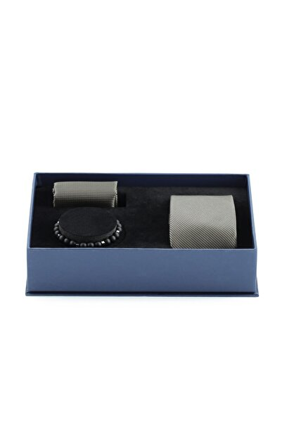 Kiğılı 3'lü Kravat Mendil Bileklik Set