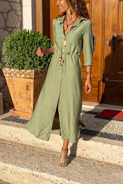 Güneşkızı Kadın Haki Keten Beli Büzgülü Hasır Kemerli Gömlek Elbise GK-BST2837