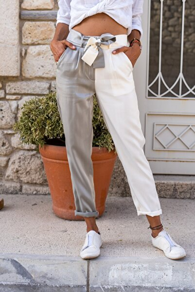 Güneşkızı Kadın Gri-Ekru Color Block Kemerli Parlak Pantolon GK-BST3133